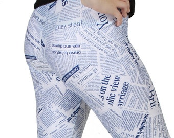 Newspaper Print  Spandex Leggings