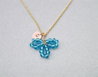 Flower girl necklace, Children necklace, Flower necklace, Blue bead necklace, Red Flower necklace, Baby girl necklace,