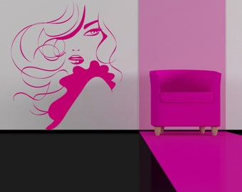 "Modern Woman Silhouette With Ruffle Sleeve Removable Wall Art Decor Decal Vinyl Sticker Mural "" Isla"""