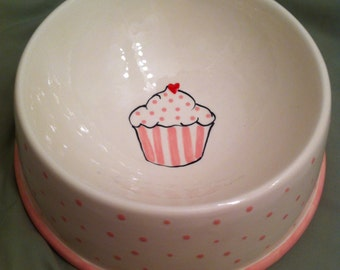 Large ceramic dog bowl with cupcake design