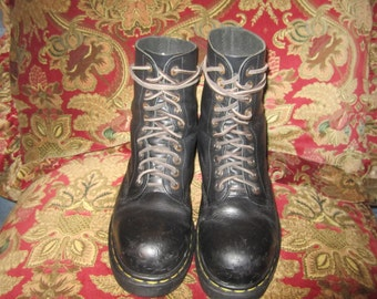 80s Steel Toe Distressed Doc Marten Boots Sold As Is UK 7 US 9 Missing Back Tabs Sold As Is