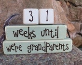 Grandparent countdown blocks weeks until baby arrives baby shower gift Mothers Day Fathers Day