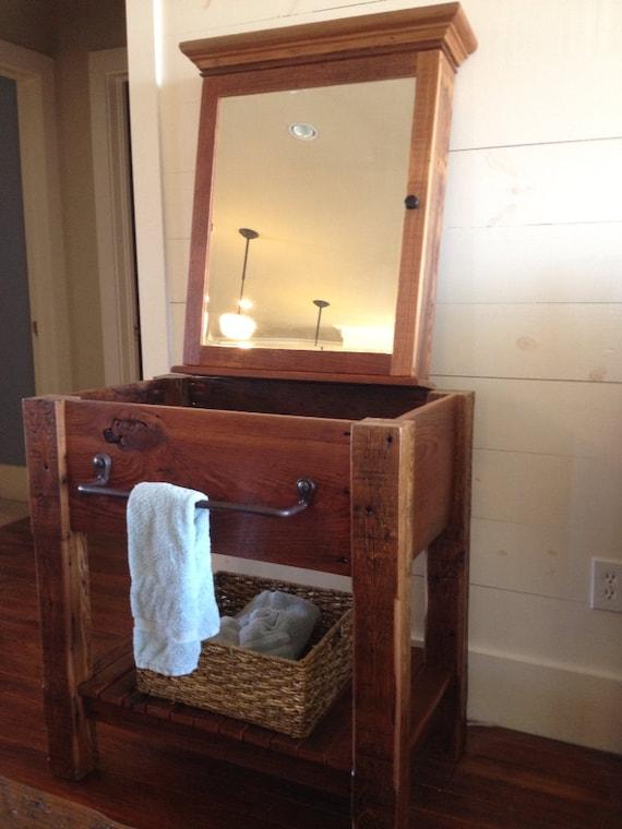 Items Similar To Reclaimed Barn Wood Bathroom Vanity On Etsy