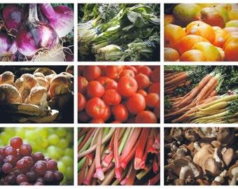 Set of Nine 5 x 7 Healthy Food Photographs - Wall Decor - Food Art - Farmer's Market - Nature Food - Kitchen Art - New York Fresh Food