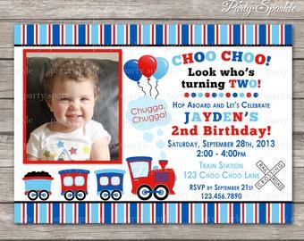 PRINTABLE Choo Choo Train Birthday Invite - Red and Blue - Personalized Digital Photo Invitation 4x6 or 5x7 jpg or pdf