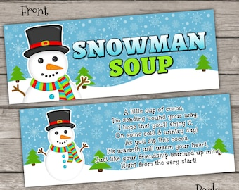 INSTANT DOWNLOAD - Snowman Soup Treat Bag Toppers Holiday Favor Labels - Christmas Party Digital pdf file