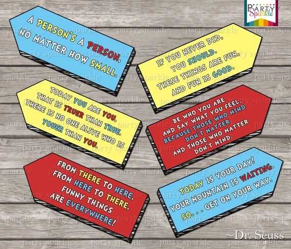 ... DOWNLOAD - Dr Seuss Quote Arrow signs - Digital Printable pdf file