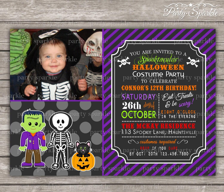 Halloween Party Costume Birthday Invite Frankenstein And