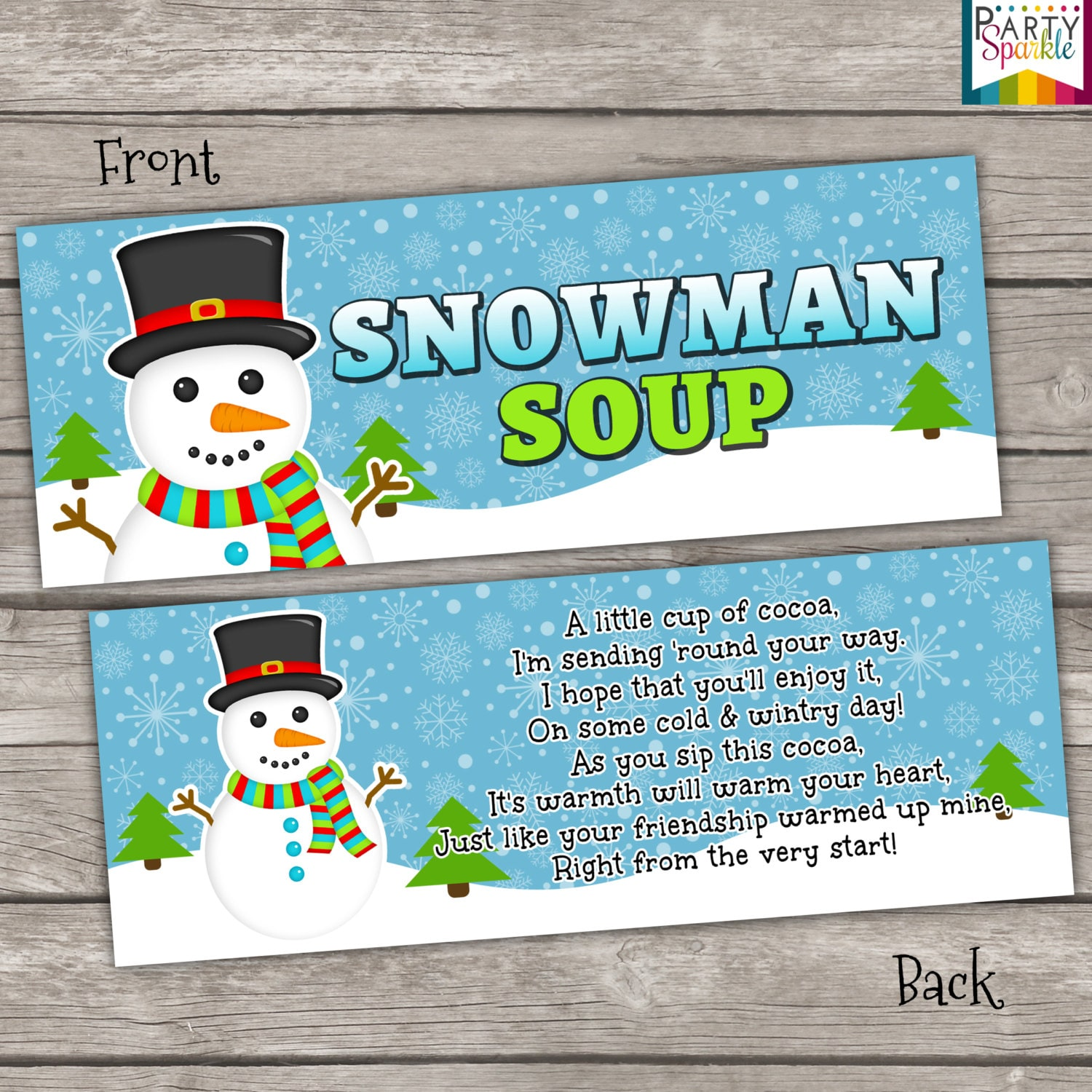 INSTANT DOWNLOAD Snowman Soup Treat Bag Toppers Holiday