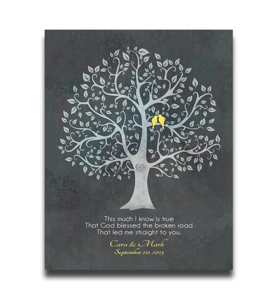 Personalised Wedding Gift Canvas : Road Personalized 11x14 CANVAS Wedding Gift Lyrics Birds Tree Custom ...