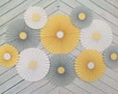 Yellow, Gray and White Set of 10 (TEN) Yellow, Gray and White paper fans/rosettes, decorations for  Baby Shower,Birthday Party or  Wedding