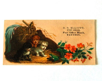 Victorian Puppy Dogs Trade Card Antique