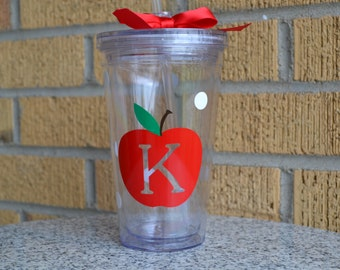 Teacher Gift - Personalized Apple Tumbler - Teacher Appreciation Gift - Apple Initial Monogrammed  Personalized Cup Tumbler