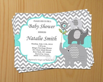 baby shower invitation elephant baby shower invitation boy baby shower