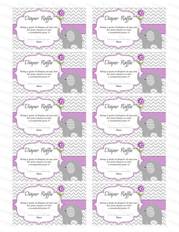 Elephant Baby Shower Diaper Raffle Ticket Diaper Raffle Card Diapers ...