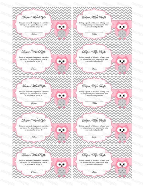 Owl Baby Shower Diaper Raffle Ticket Diaper Wipe Raffle Card