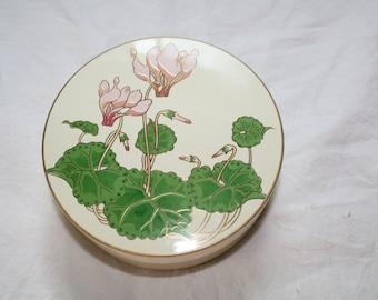 Vintage Otagiri Japan Round COASTER SET Flower Cyclamen Coasters