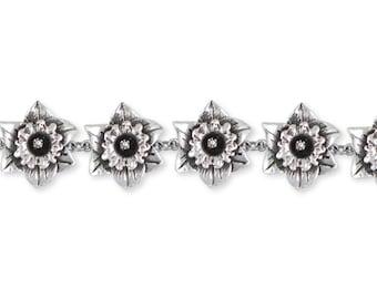 Solid Sterling Silver Daffodil Bracelet Jewelry  DAF2-B
