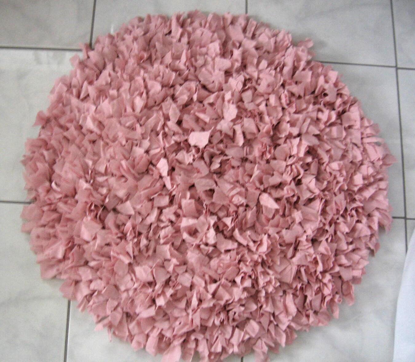Reserved For Leah Hand Crochet Shag Rag Rug Pink Shag Rug