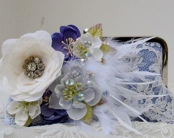 Blue Wedding Clutch / Bridesmaid Gift / Gatsby Clutch / Vintage Bride