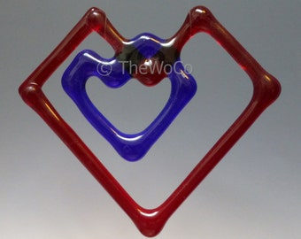 Double-Heart Fused Glass Ornament Suncatcher - Red with Blue