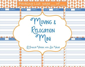 Moving and Relocation Printable Mini Planner - Instant Download