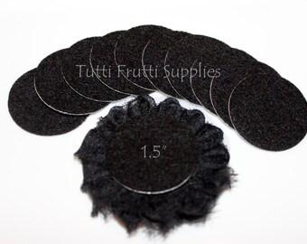 Black Felt Circle - Adhesive Felt Circle - Felt Circles - Pack of 10 Black Felt Cirles