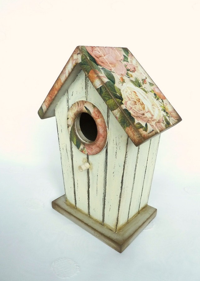 Decorative Birdhouse Beige Bird House With Roses By