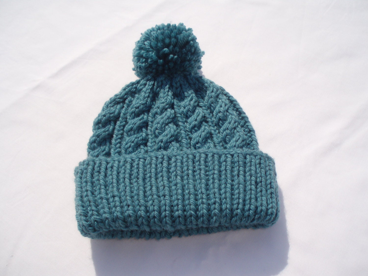 Teal hand knitted aran beanie bobble hat Unisex adult sizes