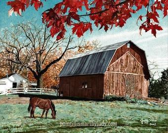Caduta del gufo di granaio di autunno foglie illustrazione for Piani di fattoria del granaio