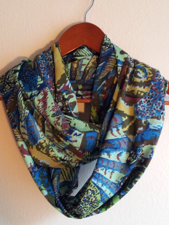 chiffon colorful infinity scarf by scarvesbuysharon