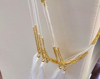 Sale>>Sale>> sale>>White & gold tassel Necklace>>>fun>>funky>>fashion>>trends>>women>>summer>>winter