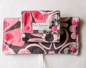 Carrier Strap Drool Pads in Pink & Grey Flowers,  Reversible Drool Pads, Carrier Strap Covers