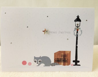 Christmas cards / Holiday Cards / Unique christmas cards / Personalized Christmas cards.Christmas raccoon
