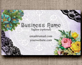 Business Card - Flowers and Black Lace, Customized with your wording, Printable Business Card