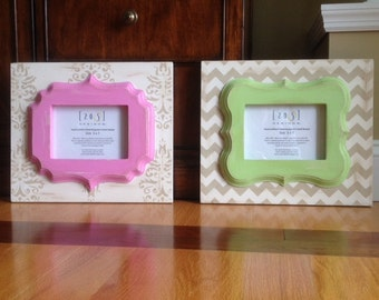 Nursery frames, girl frames, pink frames, Chevron frame, damask frame, curvy whimsical frames