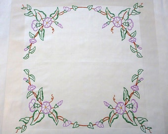 NEW handmade cotton square tablecloth with round floral embroidery FLOWERS hand embroidered table cloth