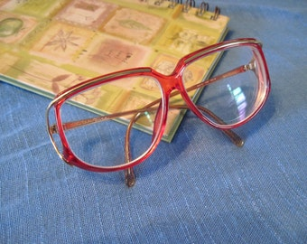 Vintage 70s Tura Women's Red Eyeglasses Frames, Made in Japan, 136 mm Temple Length, 2 1/8 Glass Width