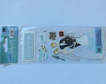 New - Scrapbooking Dimensional title wave  Stickers by  Jolees Boutique Cutting the Cake