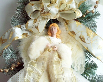Christmas Swag, Angel Swag, White Swag, Ivory Swag, Wreath Alternative, XXL Winter Swag With Ivory Angel