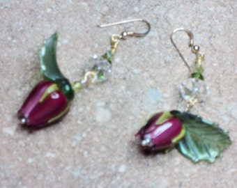 Free Shipping -- Artisan Lampwork Magenta Rose Bead Earrings with 14K Gold Filled Earring Wires - Price Reduced