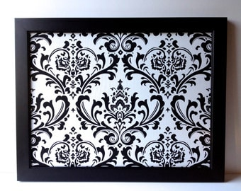 EX LG. framed magnetic bulletin board, black and white wedding, office decor, fabric covered magnet board, wedding display