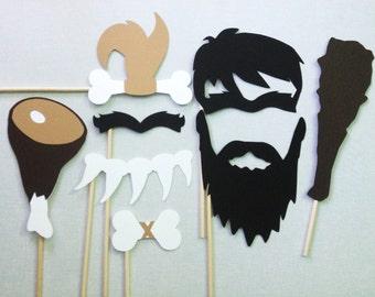 8 Caveman Photo Booth Props - Paleo Party - Caveman and Cavewoman