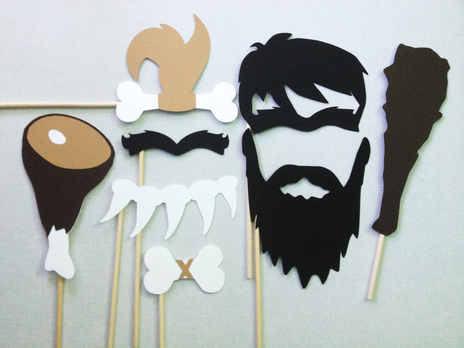 Caveman Unibrow : Caveman photo booth props paleo party by