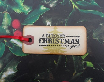A Blessed Christmas To You, Christmas Tag, Holiday Tag, Gift Tag