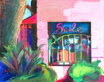 Pink Storefront original Mixed Medium Drawing