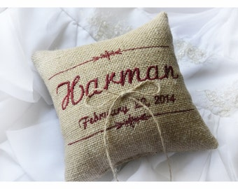 Burlap Wedding pillow , wedding pillow , ring bearer pillow, ring pillow,  personalized wedding pillow (R53B)