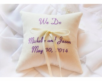 WE DO Ring bearer pillow , wedding pillow , wedding ring pillow, Personalized Custom embroidered ring bearer pillow (R75)