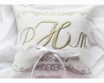 Personalized Monogrammed Ring bearer pillow , wedding pillow , wedding ring pillow, Personalized Custom embroidered ring bearer pillow (R85)