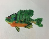 Seed Bead Bluegill Fish Unique Hat or Vest Decoration Handmade Art Sculpture Beadwork by Claude's Woodcarving